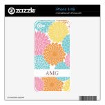 Colorful Summer Flowers Pattern Skins For The iPhone 4