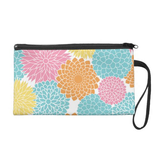 Colorful Summer Flowers Pattern Wristlet Clutches