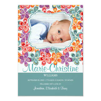 Colorful Summer Flowers Photo Birth Anouncement Card