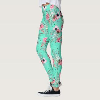 Colorful Summer Flowers - Teal Leggings