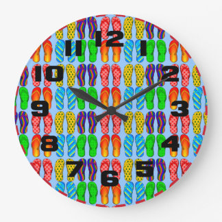 Colorful Summer Fun Beach Flip Flops Clocks