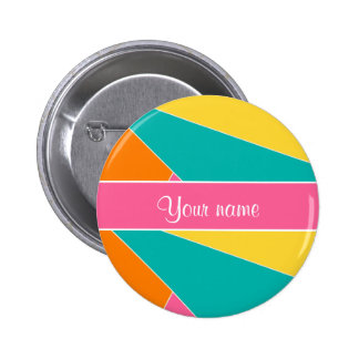 Colorful Summer Geometric Pattern Button