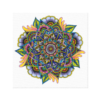 Colorful Summer Mandala Design Canvas Print