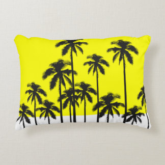 Colorful Summer Neon Yellow & Tropical Palm Trees Accent Pillow