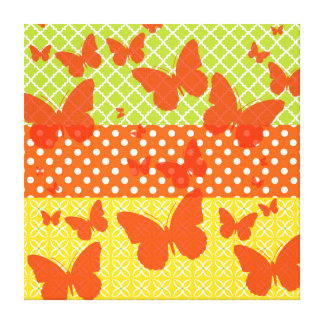 Colorful Summer Pattern Butterfly Design Canvas Print