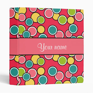 Colorful Summer Polka Dots Personalized 3 Ring Binder