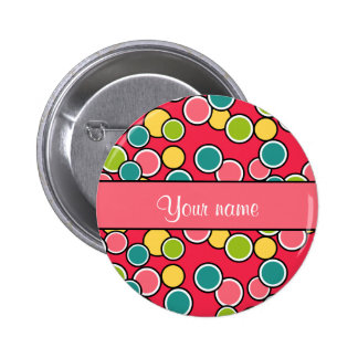 Colorful Summer Polka Dots Personalized Button