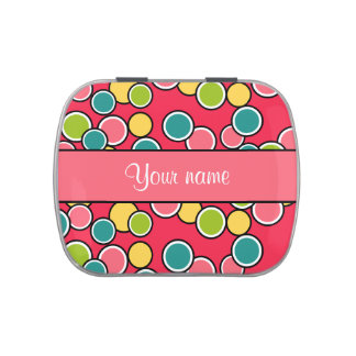 Colorful Summer Polka Dots Personalized Candy Tins