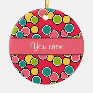 Colorful Summer Polka Dots Personalized Ceramic Ornament