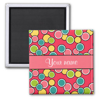 Colorful Summer Polka Dots Personalized Magnet