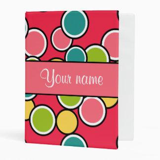 Colorful Summer Polka Dots Personalized Mini Binder