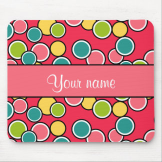 Colorful Summer Polka Dots Personalized Mouse Pad