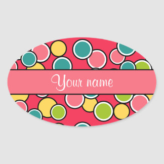 Colorful Summer Polka Dots Personalized Oval Sticker