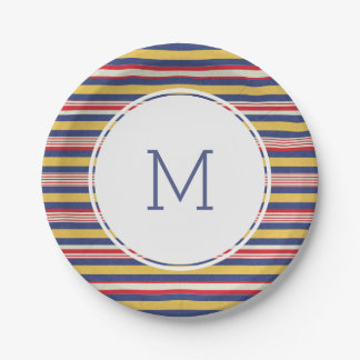 Colorful Summer Stripe Pattern July 4th Monogram Paper Plate