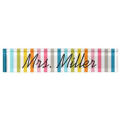 Colorful Summer Stripes Desk Nameplate
