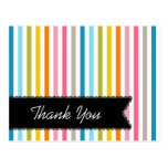 Colorful Summer Stripes Thank You Postcard