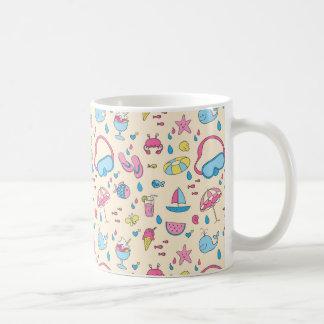 Colorful Summer Vacation Beach Pattern Classic White Coffee Mug