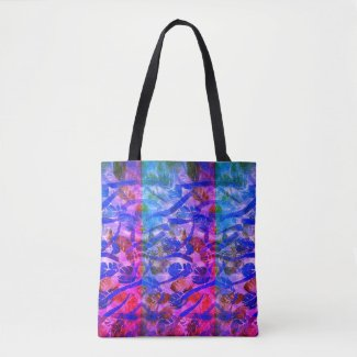 Colorful Summery Tote Bag with Leaf Design