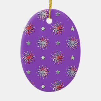 Colorful sun and stars design ceramic ornament
