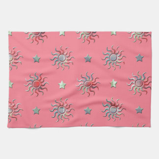Colorful sun and stars design kitchen towels
