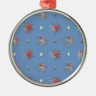 Colorful sun and stars design metal ornament