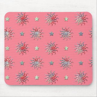 Colorful sun and stars design mouse pad
