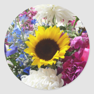 Colorful sunflower bouquet classic round sticker