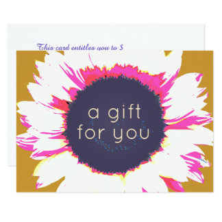 Colorful  Sunflower Floral Gift Certificate Card