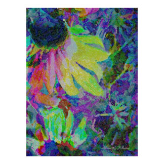 Colorful Sunflower Poster