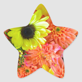 Colorful sunflowers and dahlias floral bouquet star sticker