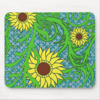 Colorful Sunflowers Floral Illustration Mouse Pad
