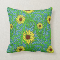 Colorful Sunflowers Floral Illustration Throw Pillow