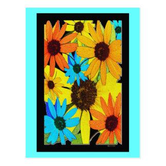 Colorful Sunflowers Postcard