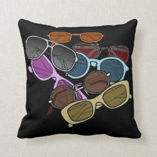 Colorful Sunglases Black and White Pillow