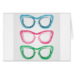 Colorful sunglasses sketched with crayon card