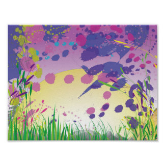 Colorful sunset landscape poster