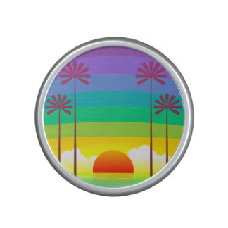 Colorful Sunset On The Beach With Palm Trees Bluetooth Speaker