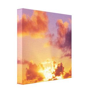 Colorful Sunset, Rays of Sunshine, Oregon Canvas Print