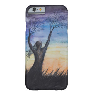 Colorful Sunset Tree Person Cell Phone Case