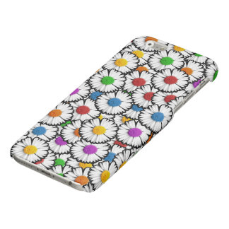 Colorful super-imposed daisies in various colors. glossy iPhone 6 case