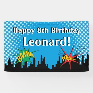 Colorful Superhero Comic Boy's Birthday Party Banner