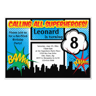 Colorful Superhero Comic Boy's Birthday Party Card