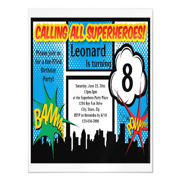 Superhero Comic Boys Birthday Party Magnetic Invitation