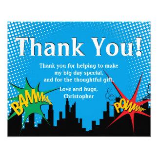 Colorful Superhero Comic Boy's Birthday Thank You Flyer