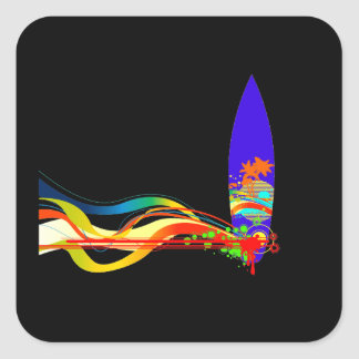 Colorful Surf Board Square Sticker
