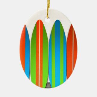 Colorful Surfboard Pattern Deisgn Ceramic Ornament