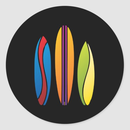Colorful Surfboards Classic Round Sticker