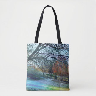 Colorful Surreal Misty Landscape Tote Bag
