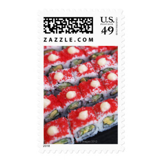 Colorful sushi for sale stamp