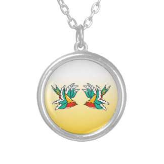 Colorful Swallows Flaying Silver Plated Necklace